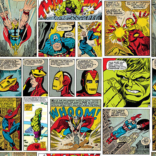 "Marvel Comics, Comic Fury Panel Art, Cotton, Multi, 43/44"" Wide, Fabric by the Yard"