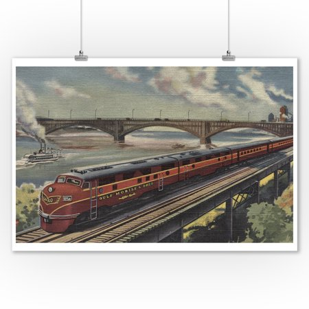 St. Louis, Missouri, Gulf Mobile & Ohio Train by River (9x12 Art Print, Wall Decor Travel Poster)