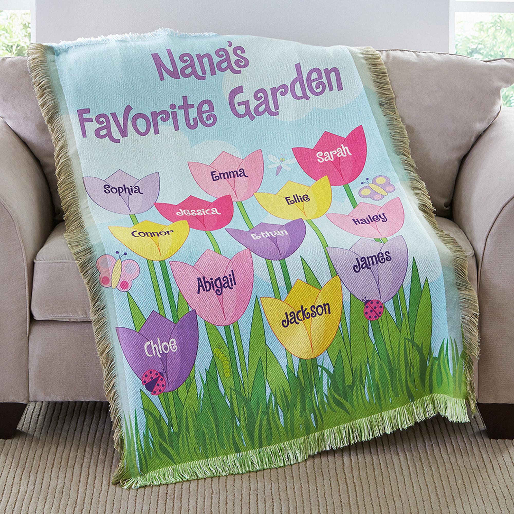 Personalized Tulip Garden Throw