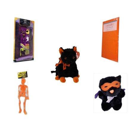 Happy Halloween Pumpkin Stencils (Halloween Fun Gift Bundle [5 Piece] - Happy  Door Panel - Bright Pumpkin Orange Plastic Table Cover  - Ty Beanie Baby