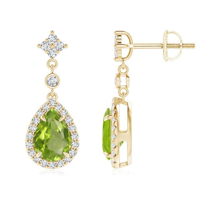 Angara Pear Shaped Peridot Earrings in Platinum PgFd89e