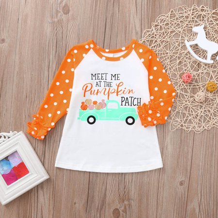 Staron 2019 Cute Toddler Baby Kids Girl Ruffle Letter Pumpkin Tops T-Shirt Halloween Clothes