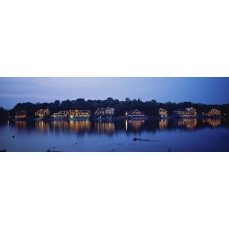 Philadelphia Boathouse Row (Boathouse Row lit up at dusk Philadelphia Pennsylvania USA Poster)