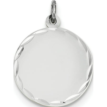 14k White Gold Etched .035 Gauge Engraveable Round Disc Pendant / Charm - image 1 of 1