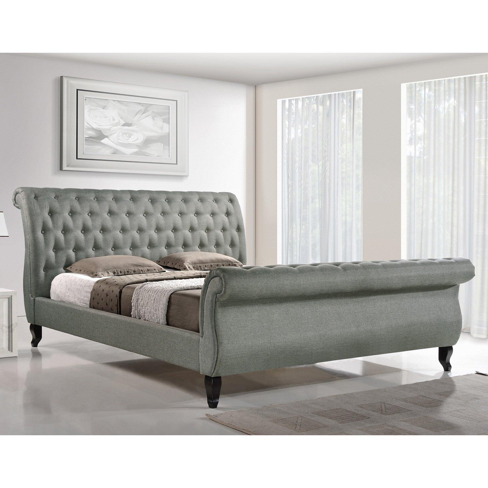 Baxton Studio King Fabric Bed Grey Box 1 Of 3 Walmart Com