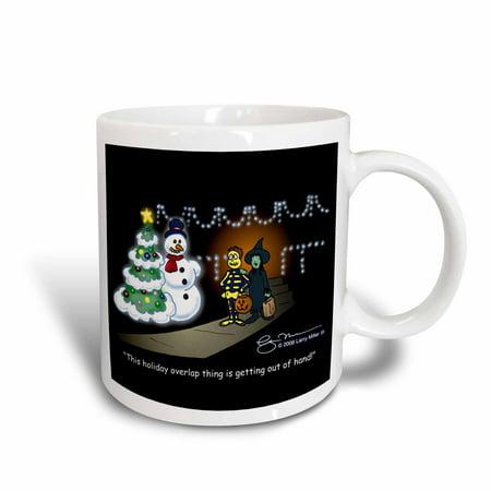 Christmas Holiday Mug (3dRose Larry Miller Cartoon about Holiday Overlap for Christmas, Ceramic Mug, 11-ounce )