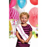 """Club Pack of 12 Pink and White """"Birthday Princess"""" Plastic Party Sashes 66"""""""