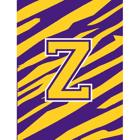 Monogram - Tiger Stripe - Purple Gold Initial Z Monogram Initial Flag Garden