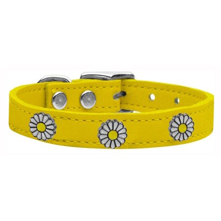 White Daisy Widget Genuine Leather Dog Collar Yellow 14