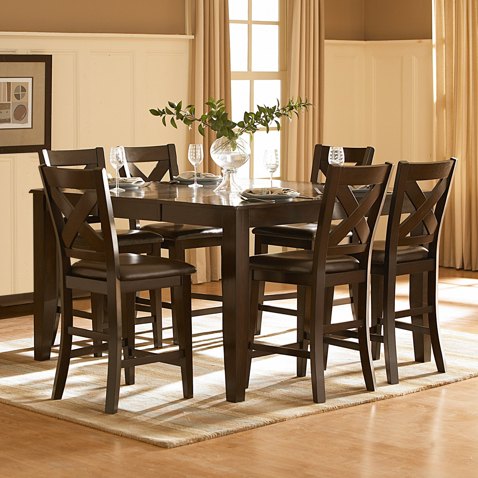 High Quality Homelegance Crown Point 7 Piece Counter Height Dining Set