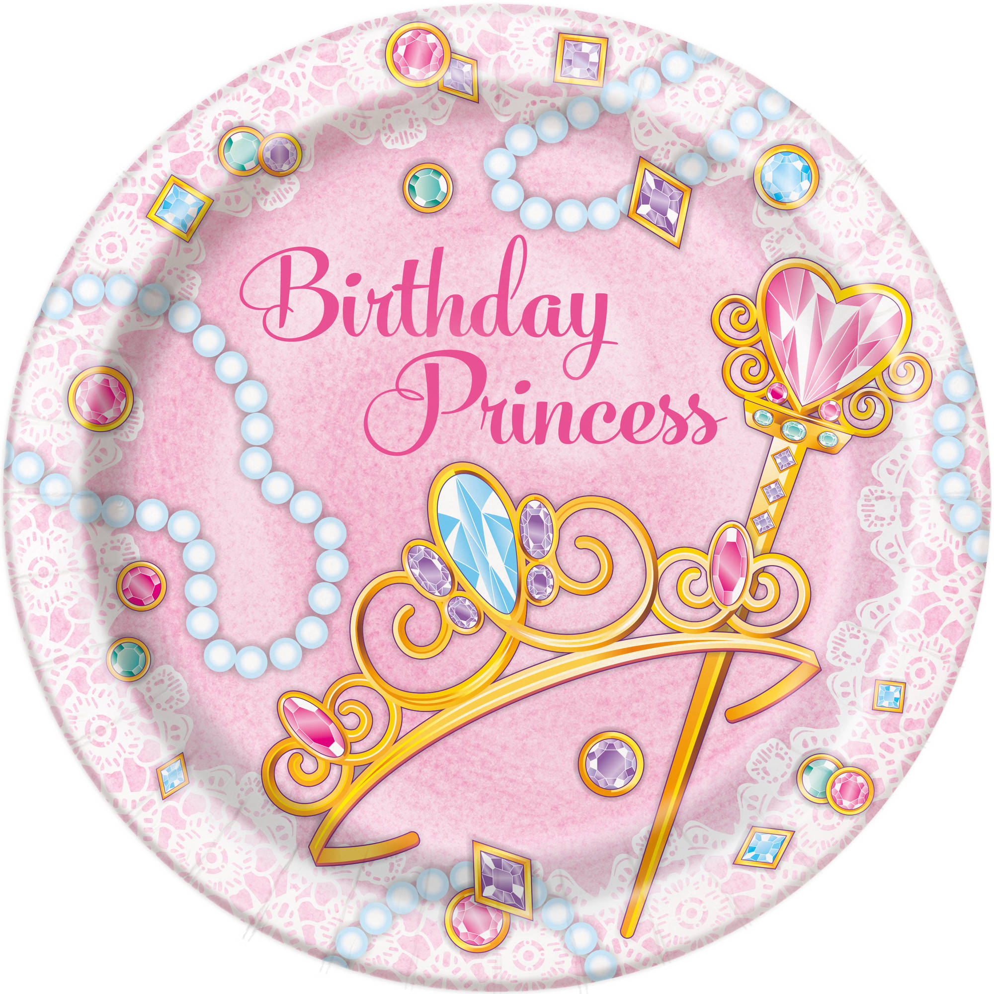 "9"" Jeweled Pink Princess Party Plates, 8ct"