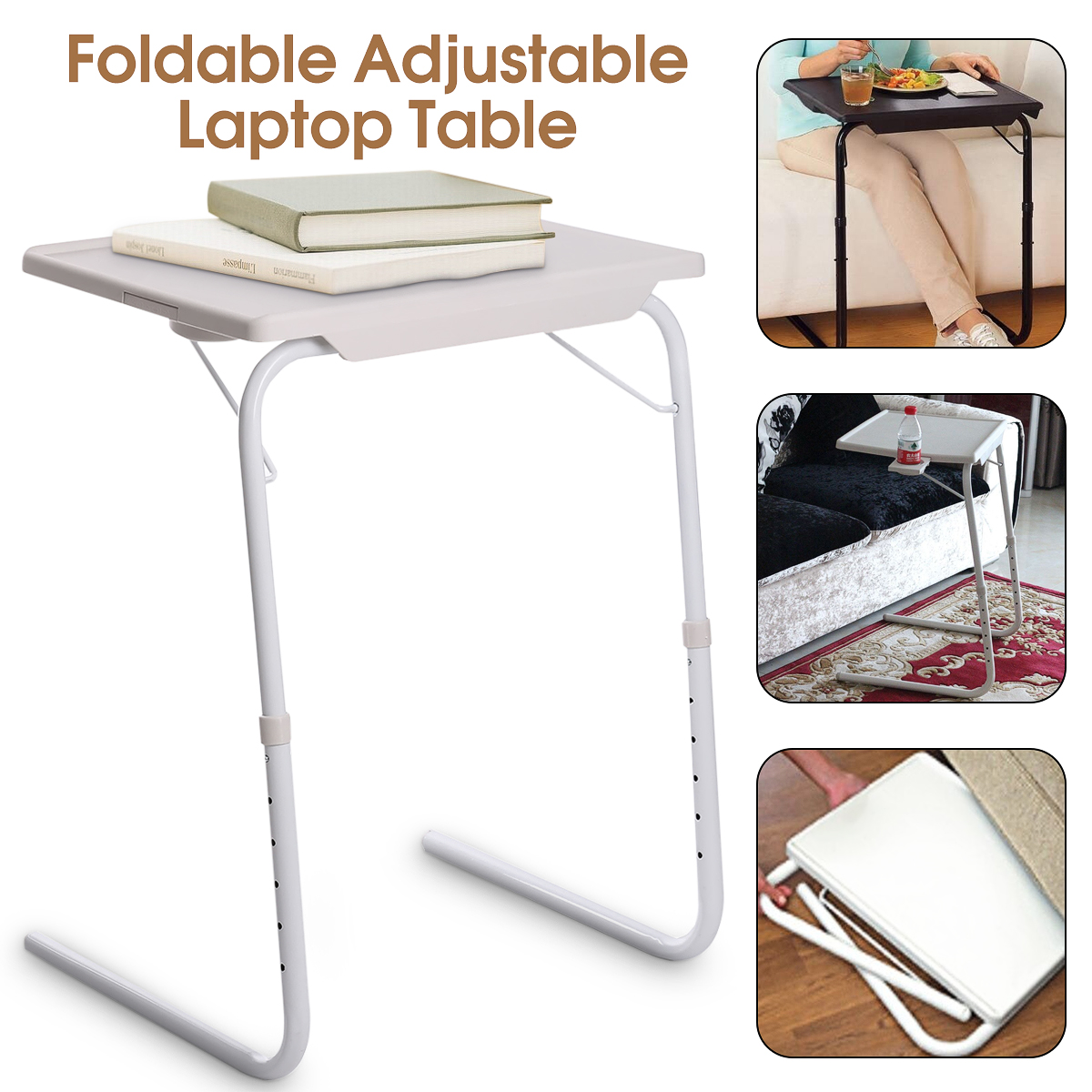 Smart Table Mate Folding Tablemate Adjustable Tray Foldable Desk W/Cup Holder
