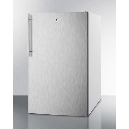 Ada Compliant Handle (CM411LSSHVADA 20 Medically Approved & ADA Compliant Compact Refrigerator with 4.1 cu. ft. Capacity  Professional Vertical Handle  Interior Light and Manual Defrost  in Stainless)