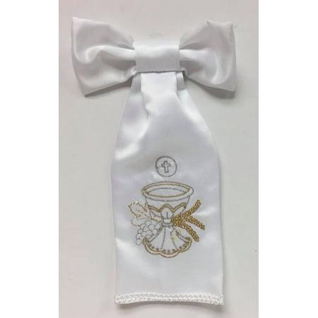 First Communion Boys White Satin Armband Chalice - Beautiful Communion Shoes