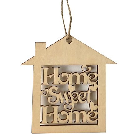 Sign Craft (10 Pcs Decorative Wood Wall Hanging Home Sweet Sign Plaque House Shape Cut Out Craft Housewarming)