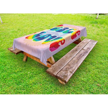 Groovy Outdoor Tablecloth, Peace and Love Text in Tie Dye Pattern Energetic Youthful Fun 60s 70s Hippie Design, Decorative Washable Fabric Picnic Tablecloth, 58 X 104 Inches, Multicolor, by Ambesonne (60s Tie)