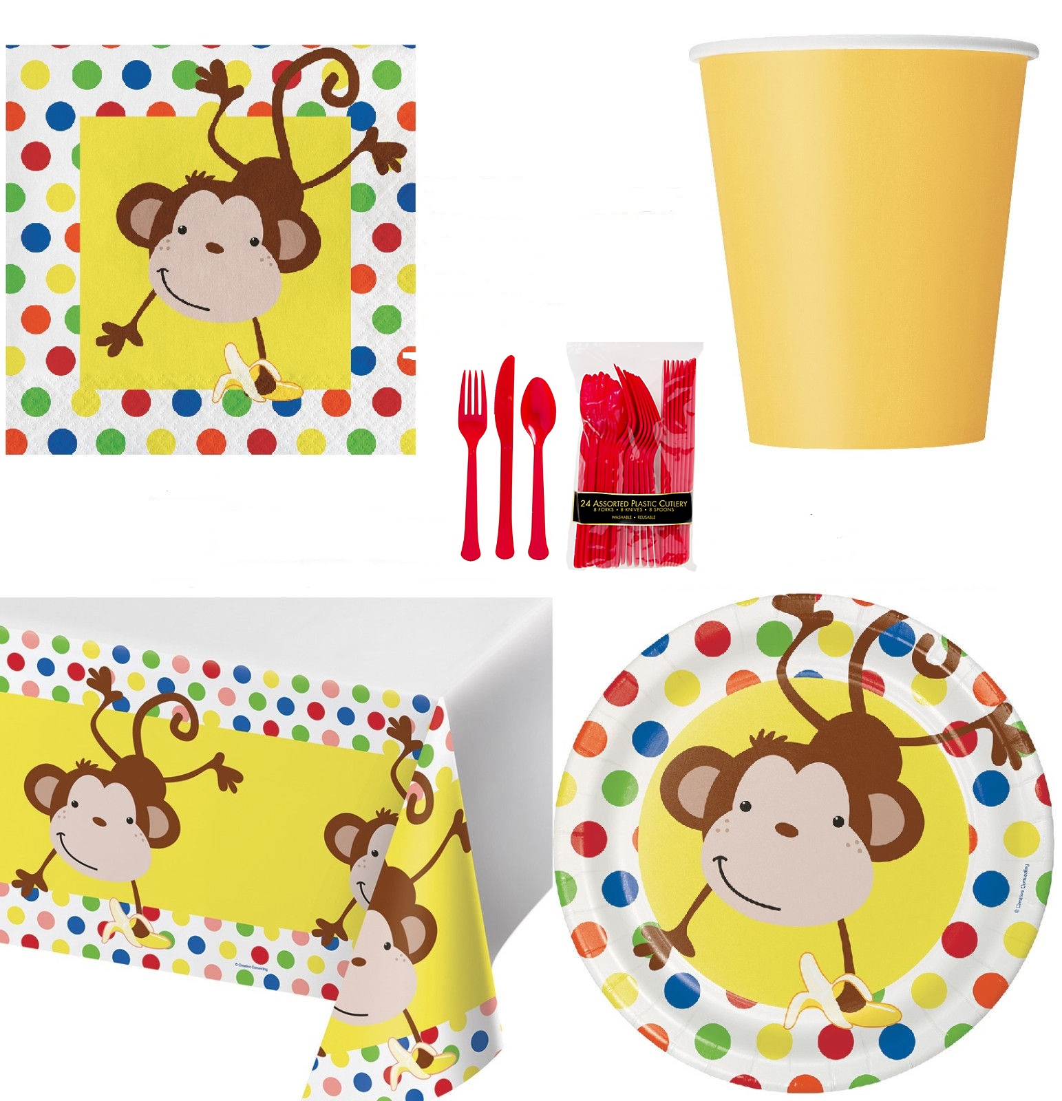 81 pcs Fun Monkey | Banana 8 Guest Starter Party Pack - Cups | Plates | Napkins