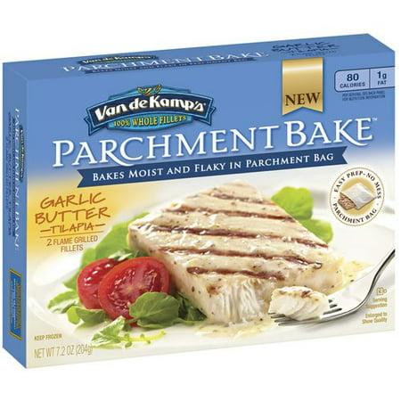 Van de kamp 39 s parchment bake garlic butter tilapia fillets for Van de kamp s fish sticks