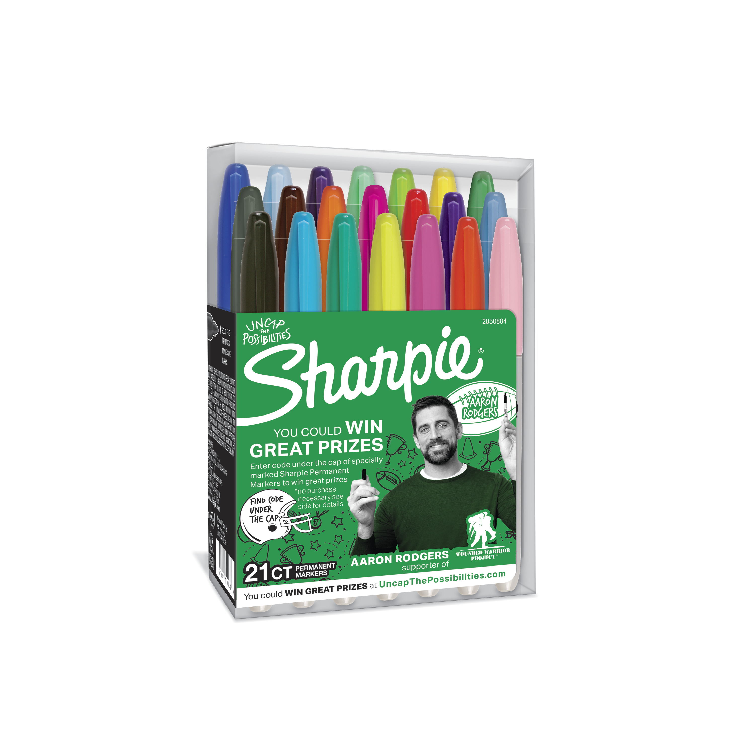 Sharpie Permanent Markers, Fine Point, Aaron Rodgers Special Edition, Assorted Colors, 21 Count