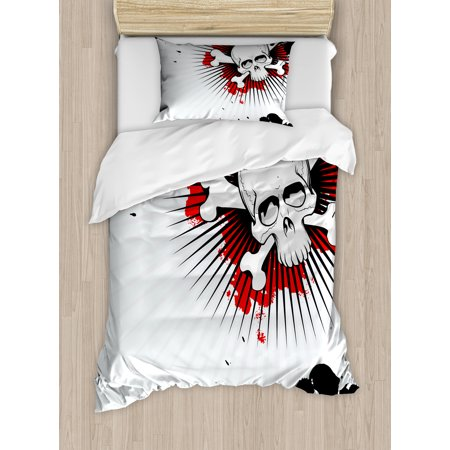 Halloween Twin Size Duvet Cover Set, Skull with Crossed Bones over Grunge Background Evil Scary Horror Graphic, Decorative 2 Piece Bedding Set with 1 Pillow Sham, Pearl Red Black, by Ambesonne