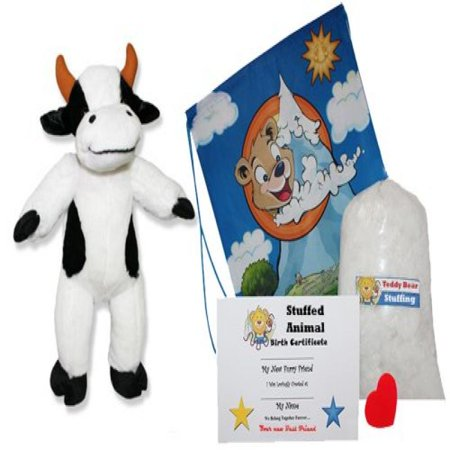 Make Your Own Stuffed Animal Cute Cow Kit - No Sew - With Cute Backpack!