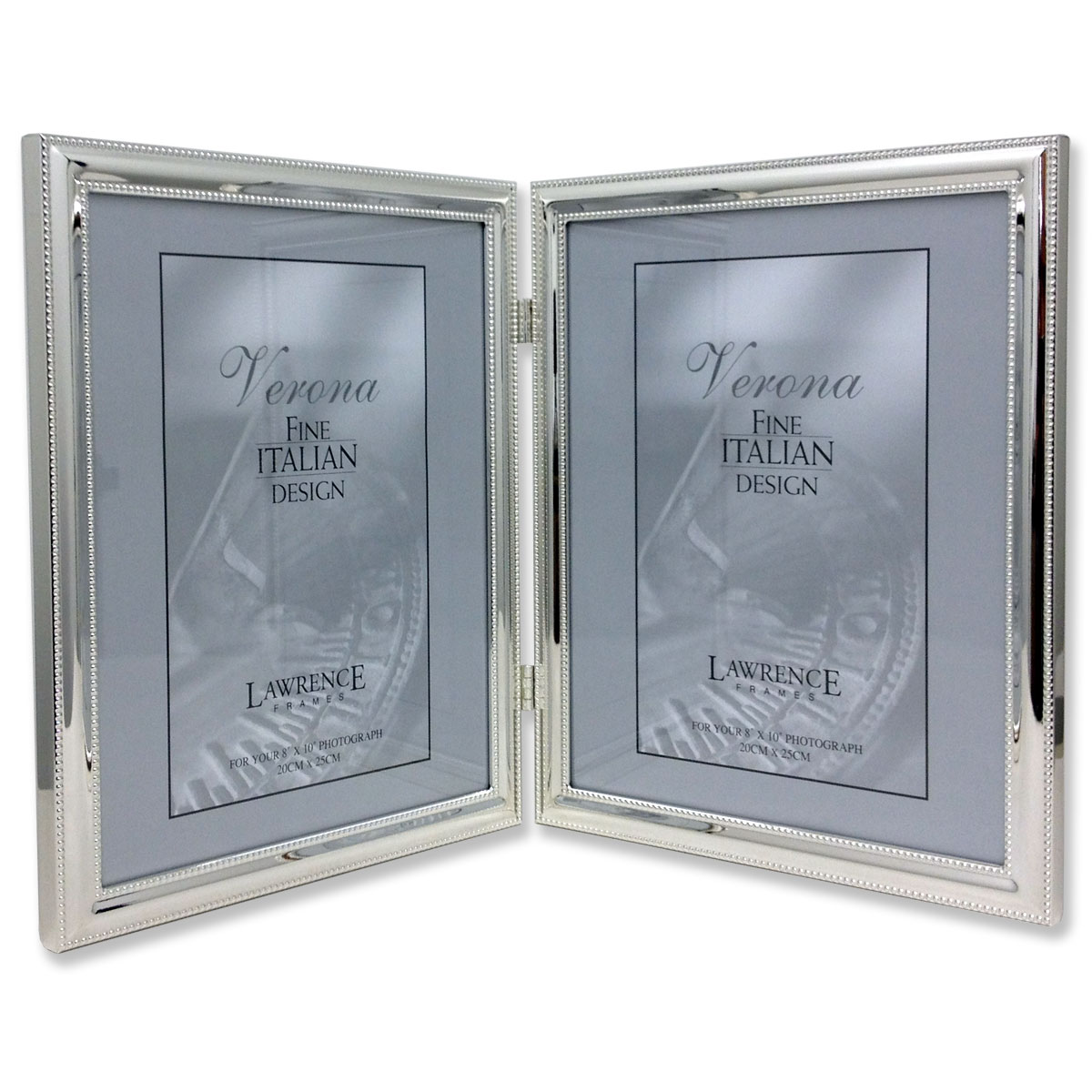 510780d silver plated double bead 8x10 hinged double picture frame - Double 8x10 Frame