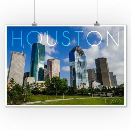 Houston, Texas - Skyline & Blue Sky - Lantern Press Photography (9x12 Art Print, Wall Decor Travel (Children's Boutiques Houston)