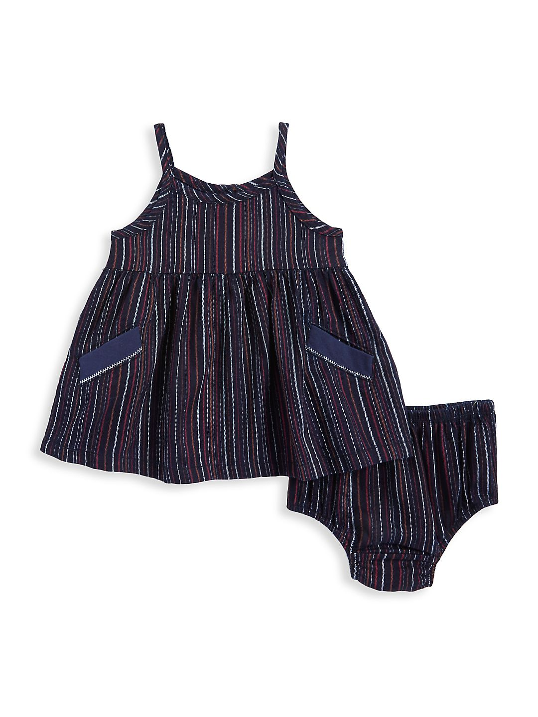 Baby Girl's Two-Piece Stripe Dress & Bottoms Set