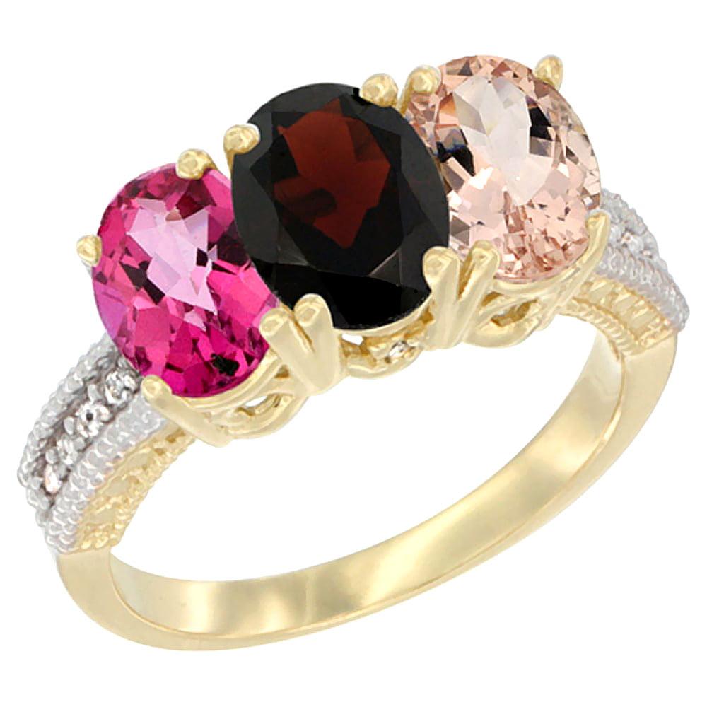 10K Yellow Gold Diamond Natural Pink Topaz, Garnet & Morganite Ring 3-Stone Oval 7x5 mm, sizes 5 10 by WorldJewels