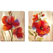 Artistic Home Gallery 'Fluorescent Blooms' by Nan 2 Piece Painting Print on Wrapped Canvas Set