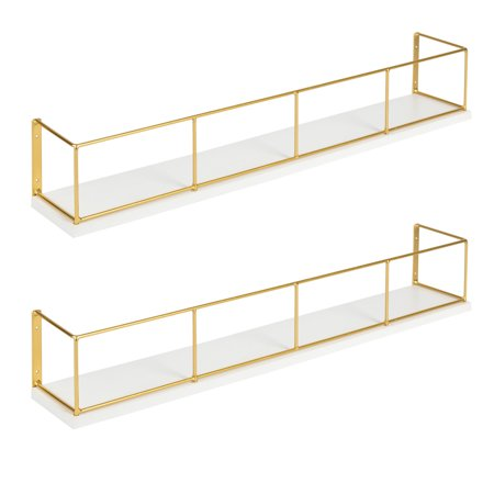 Kate and Laurel Benbrook 24 inch 2-Pack Wood and Metal Floating Wall Shelves, White and Gold