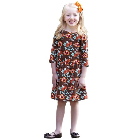 AnnLoren Girls Boutique Vibrant Fall Floral Swing Dress