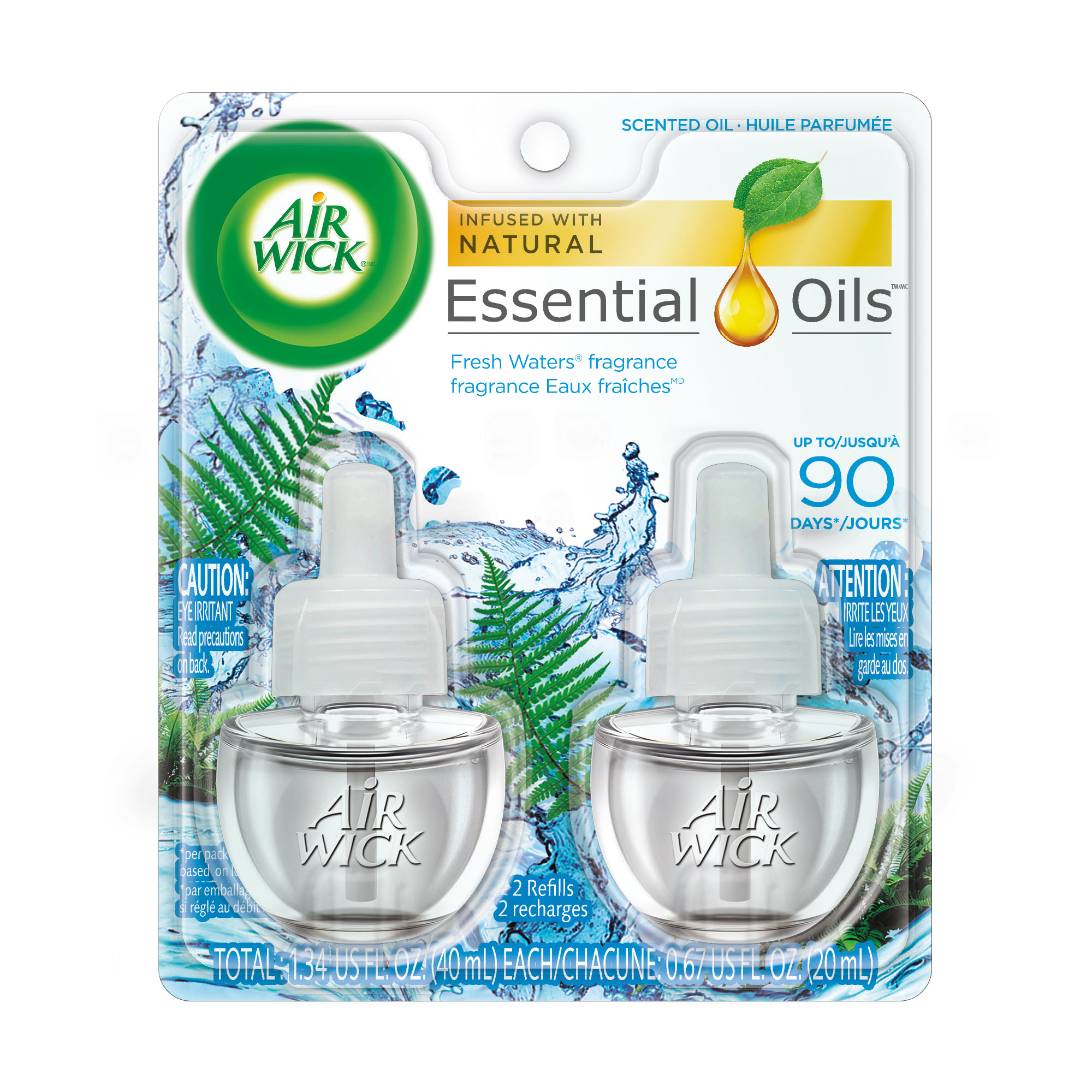 Air Wick Scented Oil 2 Refills, Fresh Waters, (2X0.67oz), Air Freshener