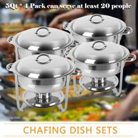 Zimtown 4PCS Round Chafing Dish 5 Quart Stainless Steel Tray Buffet Catering, Dinner Serving Buffer Warmer Set