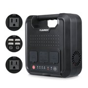 FLOUREON 220Wh Portable Solar Power Station 120V/300W 2 AC Outlets/4 USB Ports/Solar Input Home Camping Emergency Power Generator Power Bank for MacBook iphone X 7 8 Samsung