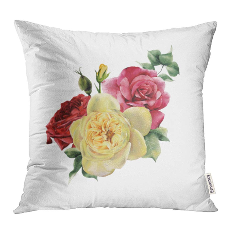 CMFUN Bouquet of Roses Watercolor for Wedding Birthday and Other Holiday and Summer Pillowcase Cushion Cover 16x16 inch
