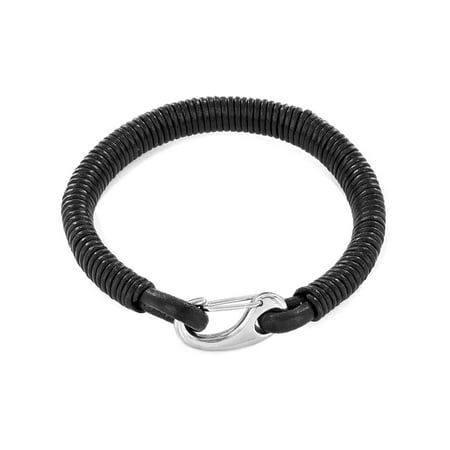- Black Coiled Leatherette Stainless Steel Clasp Bracelet