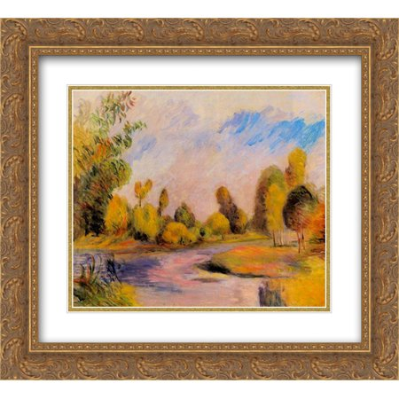Pierre Auguste Renoir 2X Matted 24X20 Gold Ornate Framed Art Print Banks Of A River