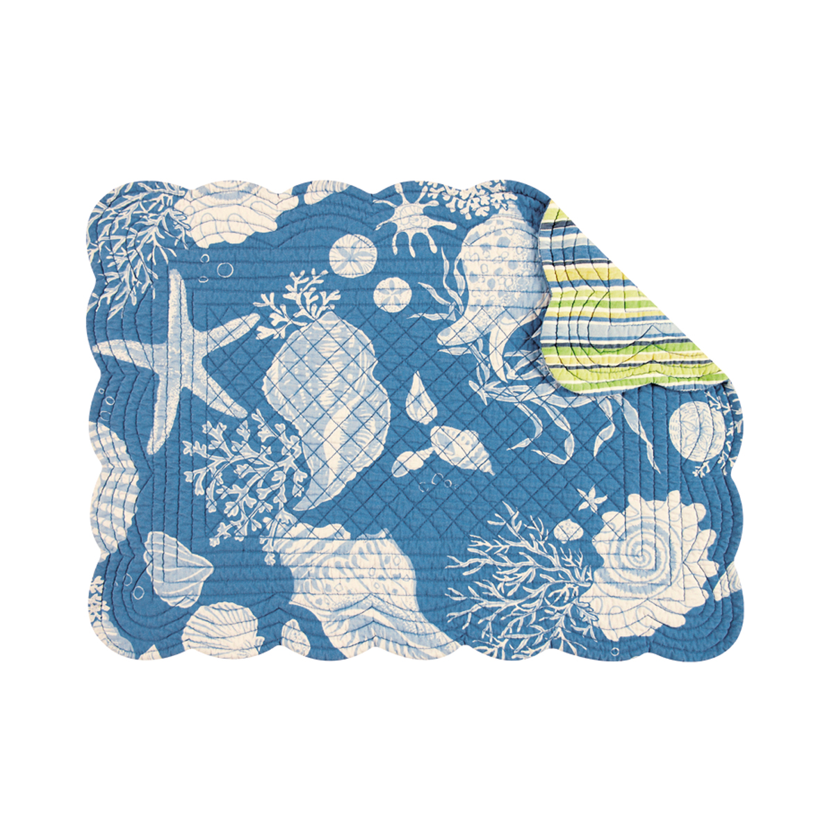 "Set of 4 PCS Quilted,13"" x 19"" Placemats, Blue Shells"
