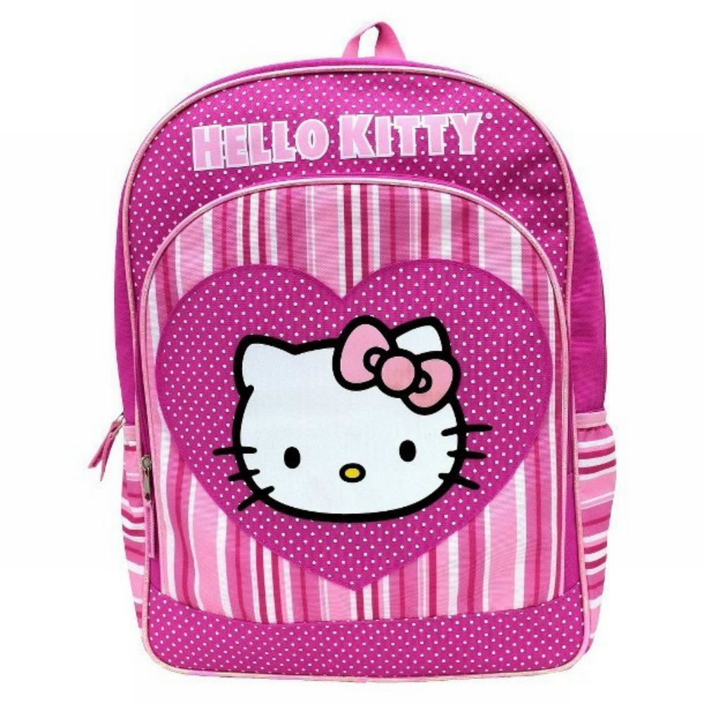 Hello Kitty Pretty Pink Stripe Backpack Kids Travel School Back Pack