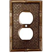 Leviton Antique Brass Tiki Bamboo Receptacle Wallplate Duplex Outlet Cover 89603