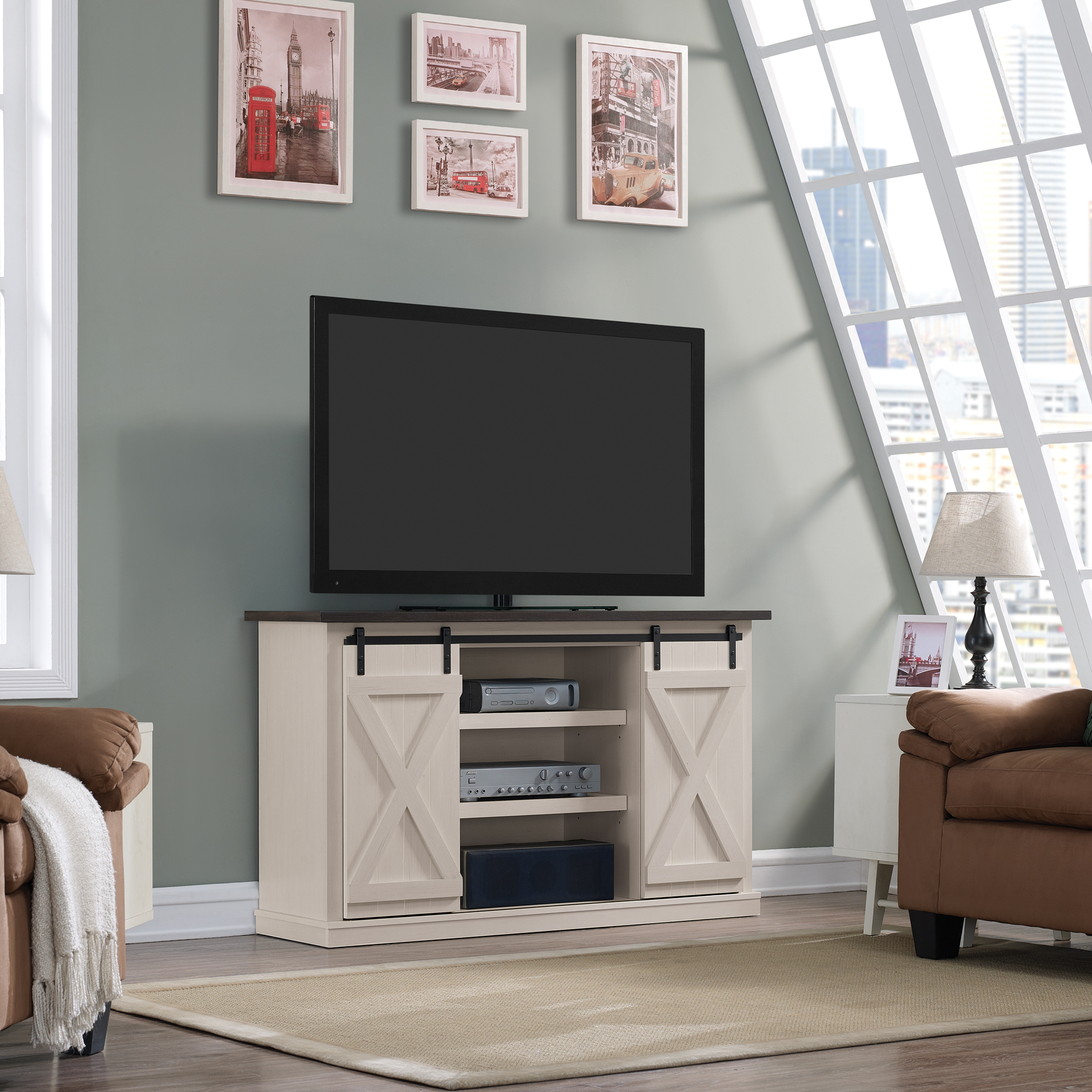 Picture of: Twin Star Home Terryville Barn Door Tv Stand For Tvs Up To 60 Old White Walmart Com Walmart Com