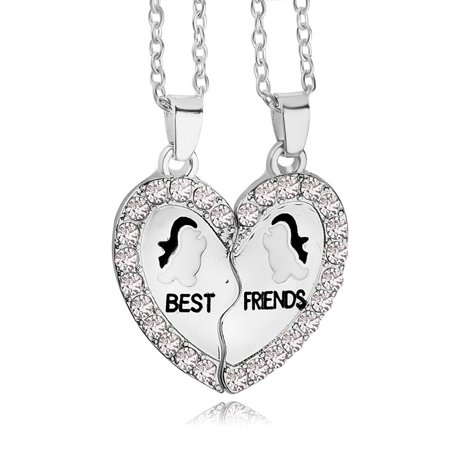 Friendship Pendant Necklace Best friend penguin heart silver tone 2 pendants necklace bff best friend penguin heart silver tone 2 pendants necklace bff friendship audiocablefo