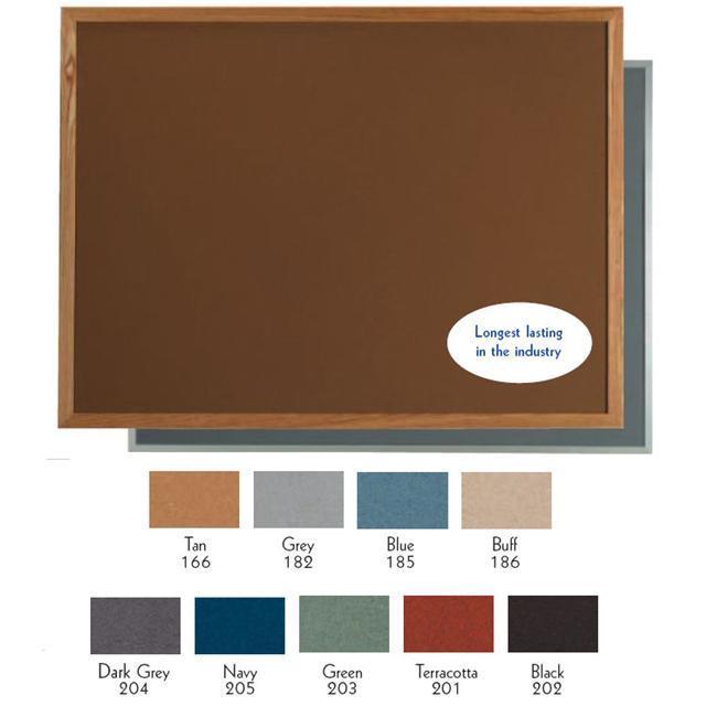 Aarco Products OW4896182 1-Door Vinyl Impregnated Cork Durable Red Oak Frame Bulletin Board - Grey