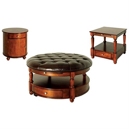 Steve Silver Brewster Round Cherry Wood Coffee Table With Leather Top