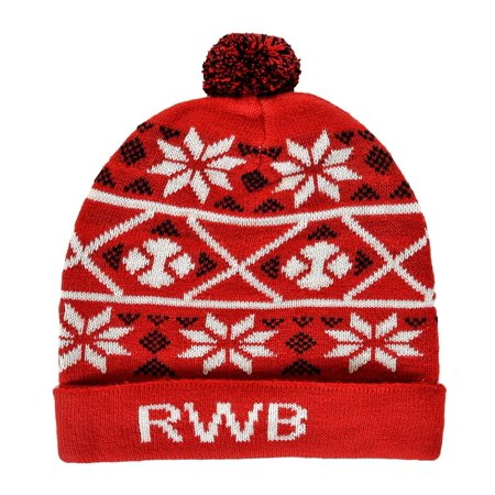Fair Isle Hat Patterns - RWB Abstract Fair Isle Pattern Ugly Christmas Beanie One Size Hat Red