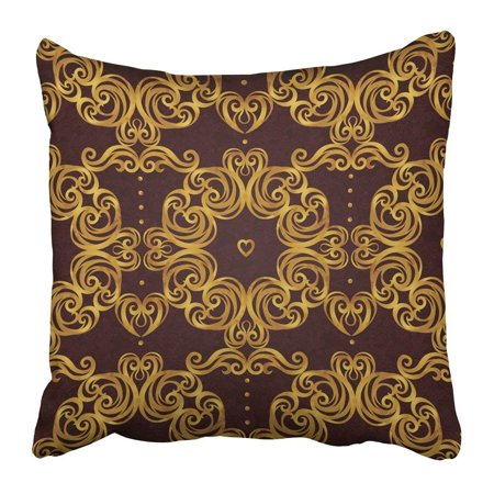 ARTJIA Abstract Vintage Ornate Floral Victorian Style Rococo Arabic Golden Motifs Ornamental for Antique Pillowcase Pillow Cover 16x16 inches