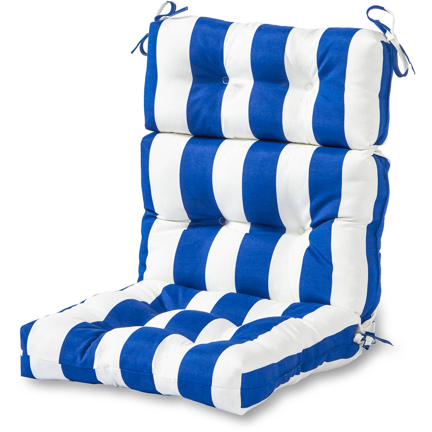 Outdoor High Back Chair Cushion Cabana Stripe Blue