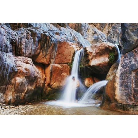 - Arizona Grand Canyon National Park Clear Creek Falls Man Under Waterfall Canvas Art - MakenaStockMedia  Design Pics (19 x 12)
