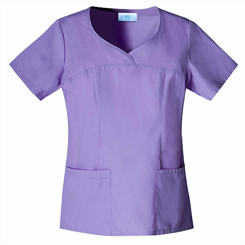 Violet Fields Mock-Wrap Scrub Top